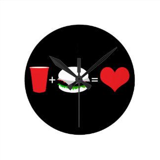 beer + hamburger = love round clock