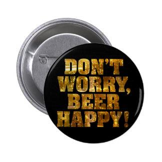 Beer Happy Black Button