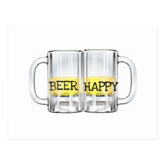 BEER HAPPY MUGS PRINT POSTCARD