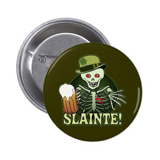 Beer Happy Skeleton Pinback Button