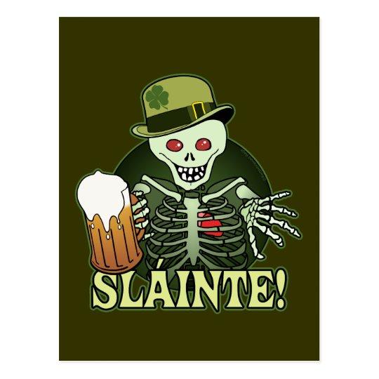 Beer Happy Skeleton Postcard