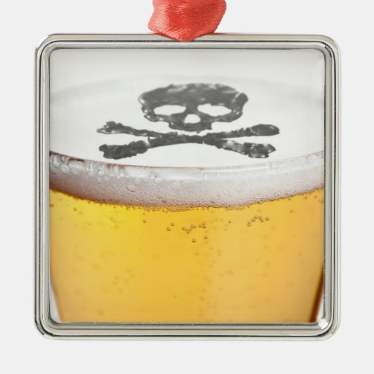 Beer Head Bubbles Metal Ornament