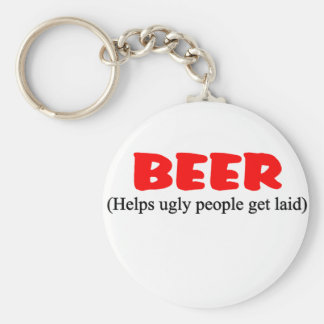 beer helps ugly people basic round button keychain