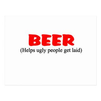 beer helps ugly people postcard