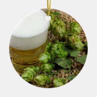 Beer, hops and malt ceramic ornament