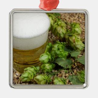 Beer, hops and malt metal ornament