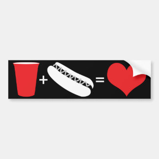 beer + hot dogs = love bumper sticker