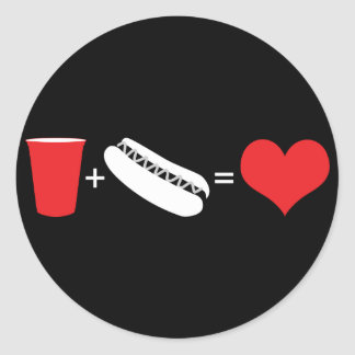 beer + hot dogs = love classic round sticker