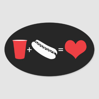 beer + hot dogs = love oval sticker