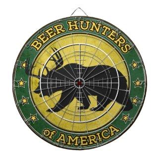 Beer Hunters of America (fun bear w/ antlers logo) Dartboard