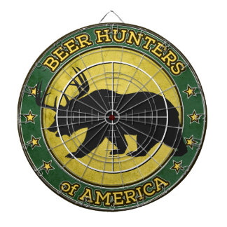 Beer Hunters of America (fun bear w/ antlers logo) Dartboard With Darts