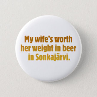 Beer Husband White Button