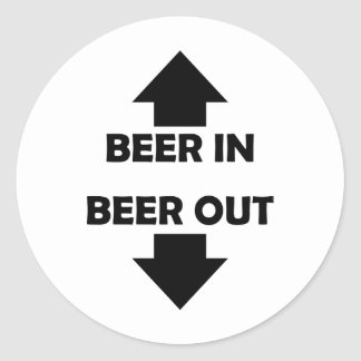 beer in beer out drinking icon round sticker