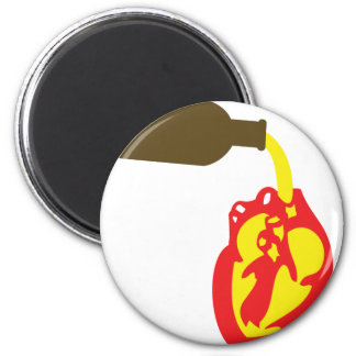 beer in chamber of the heart 2 inch round magnet