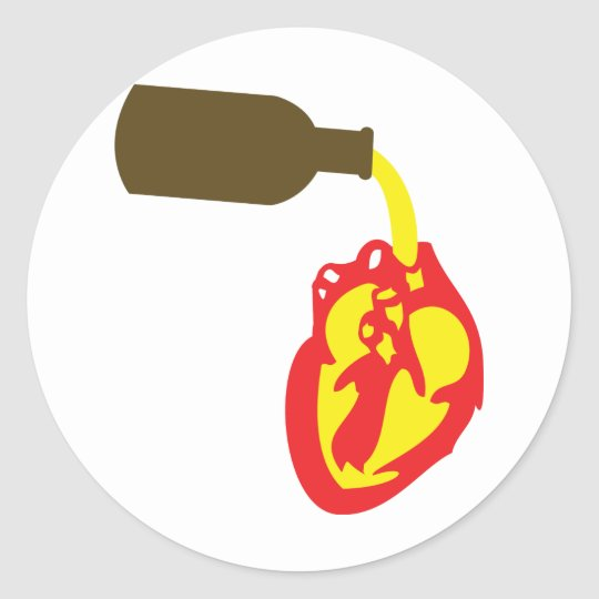 beer in chamber of the heart classic round sticker