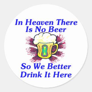 Beer in Heaven Classic Round Sticker