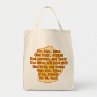 BEER in languages bag - choose style & color