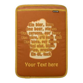 """BEER in languages custom 13"""" MacBook sleeve"""