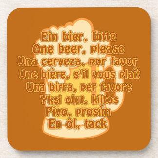 BEER in languages custom coasters