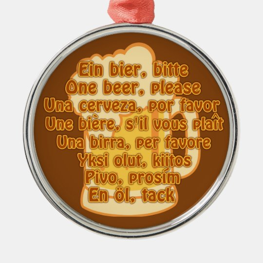 BEER in languages custom ornament