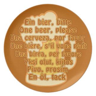 BEER in languages custom plate