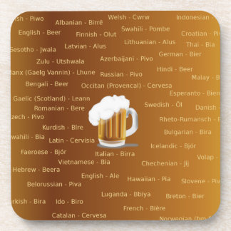 Beer in Many Languages Beverage Coaster