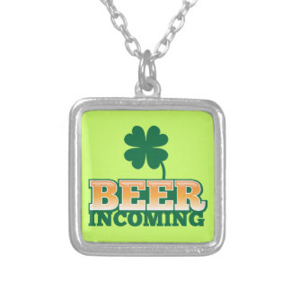 BEER INCOMING St Patricks day design for The Beer Silver Plated Necklace