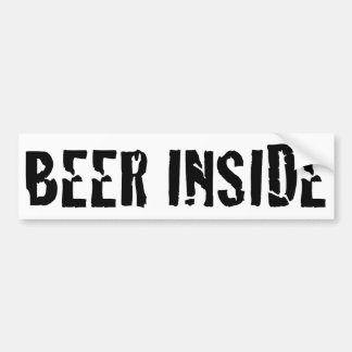 Beer inside bumper sticker