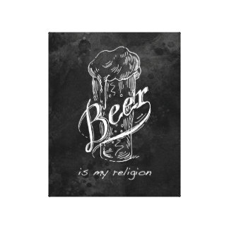 Beer is my religion canvas print art.