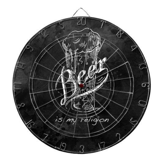 Beer is my religion on black watercolor base. dartboard with darts