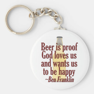 Beer is Proof Basic Round Button Keychain