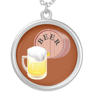 Beer keg and beer stein round pendant necklace