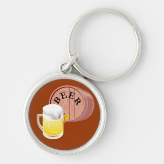 Beer keg and beer stein Silver-Colored round keychain