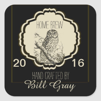 Beer Label Fully Customizable with Owl Square Sticker