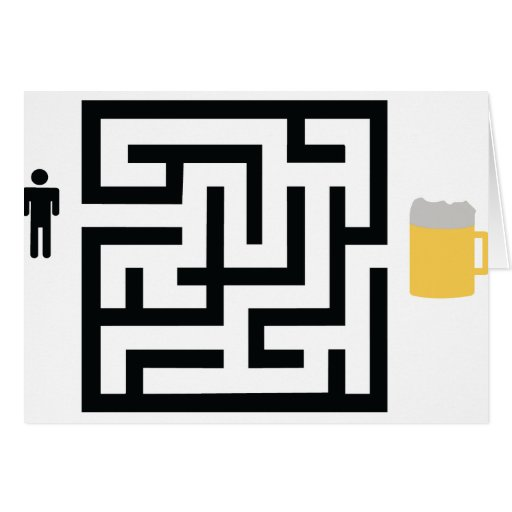 beer labyrinth icon greeting card