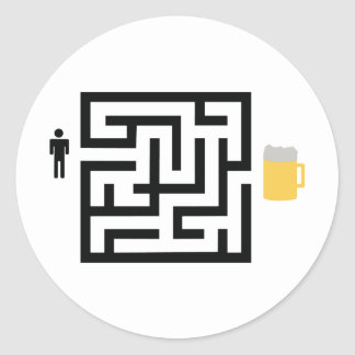 beer labyrinth icon round stickers