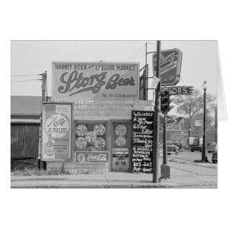 Beer & Liquor Market, 1938 Card