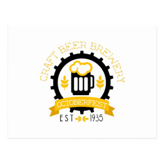 Beer Logo Design Template With Pint Postcard