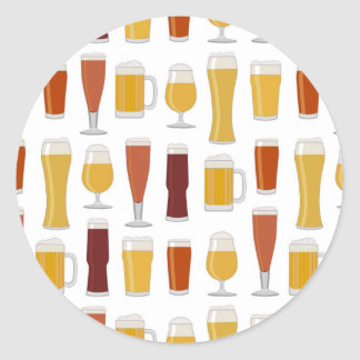Beer Lover Print Classic Round Sticker