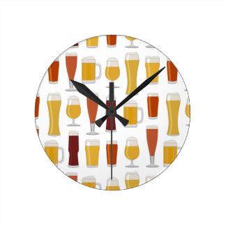 Beer Lover Print Round Clocks