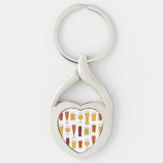 Beer Lover Print Silver-Colored Heart-Shaped Metal Keychain