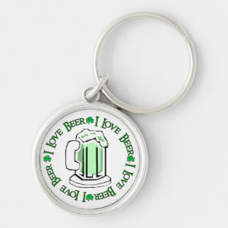Beer Lovers Silver-Colored Round Keychain