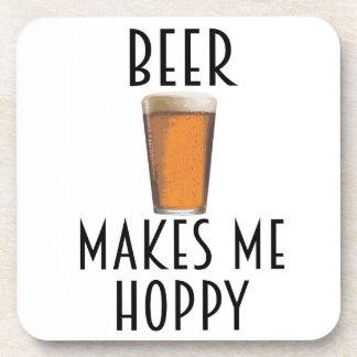 Beer Makes Me Hoppy Coaster Set Gift for Him