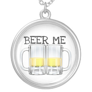 BEER ME BEER STEIN PRINT SILVER PLATED NECKLACE