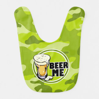 Beer Me bright green camo camouflage Baby Bib