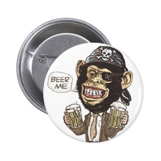 Beer Me Chimp Pirate by Mudge Studios Buttons