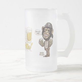 Beer Me Chimp Pirate by Mudge Studios Frosted Glass Beer Mug