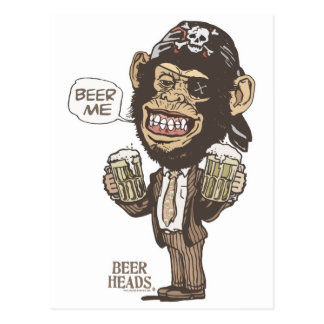 Beer Me Chimp Pirate by Mudge Studios Postcard