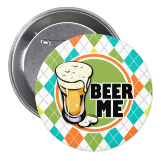Beer Me!  Colorful Argyle Pattern Button