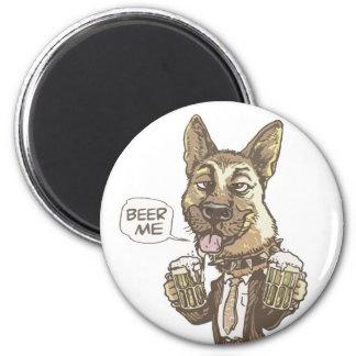Beer Me German Shepherd by Mudge Studios Fridge Magnet